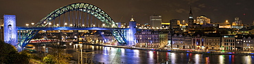 Illuminated Tyne Bridge Over The River Tyne At Nighttime, Newcastle, Tyne And Wear, England
