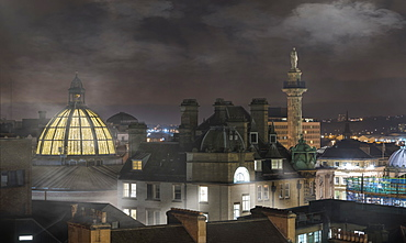 Fog Sets In Over Buildings At Nighttime, Newcastle, Northumberland, England