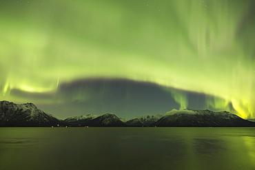 Aurora Borealis Dancing Above The Chugach Mountains And Turnagain Arm, Kenai Peninsula, Southcentral, Alaska