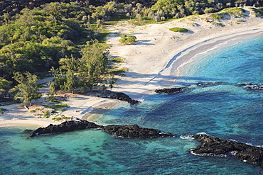 Aerial View Of Makalawaema Beach In Kekaha Kai State Park, Kailua Kona, Island Of Hawaii, Hawaii, United States Of America
