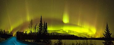 Aurora Borealis Over The Road, Thunder Bay, Ontario, Canada