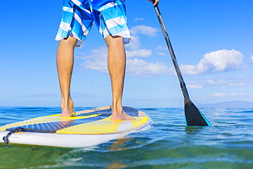 Attractive Young Man Stand Up Paddle Surfing In Hawaii, Beautiful Tropical Ocean, Active Beach Lifestyle