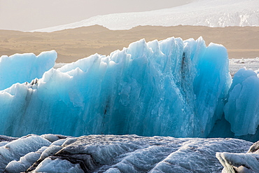 Blue Icebergs In The Ice Lagoon Of Jokulsarlon Along Iceland's South Coast, Iceland