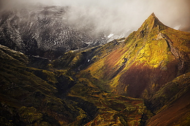 A Spire Of Rock Rises From The Flanks Of The Volcano On The Snaefellsness Peninsula, Iceland
