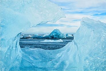 Icebergs On The Southern Beach Near The Ice Lagoon Of Jokursarlon, Iceland
