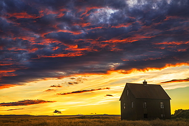 Abandoned House In Rural Iceland With A Brilliant Sunset, Iceland