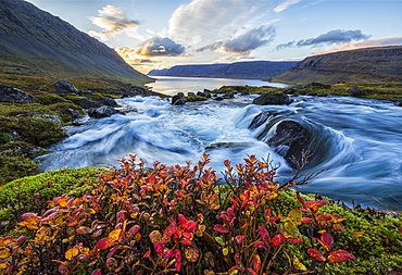 A River Flows Through The Landscape On The West Fjords, Iceland