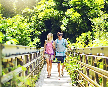 Attractive Young Couple Having Fun Together Outdoors On Hike