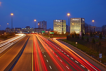 Early Morning Traffic On The Don Valley Parkway, Looking South At The Debeers Canada And Icici Bank Offices, Toronto, Ontario, Canada