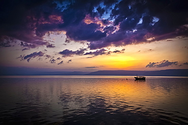 A Calm Settles On The Sea Of Galilee, Just After A Storm, Galilee, Israel