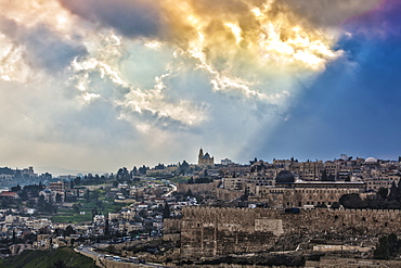 Golden Clouds Over The Cityscape Of Jerusalem, Jerusalem, Israel