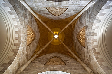 Low Angle View Of The Ceiling Inside The Tear Drop Church, Jerusalem, Israel