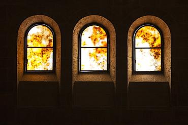Three Arched Windows In A Church, Tabgha, Israel