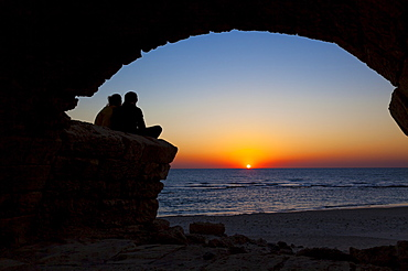 Roman Aqueduct With Arches At Sunset In Caesarea Maritima National Park, Israel