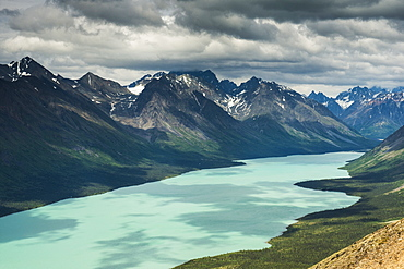 View Of Upper Twin Lake From A Mountain Ridge Within Lake Clark National Park & Preserve, Alaska.