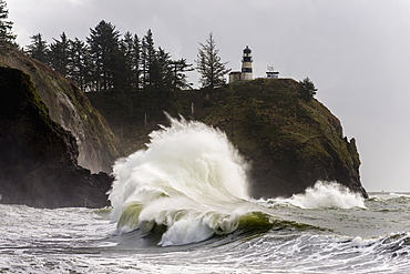 Surf Breaks At Cape Disappointment Lighthouse, Ilwaco, Washington, United States Of America