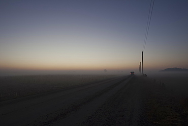 Woolwich Guelph Townline Before Sunrise On A Foggy Morning, Mosborough, Ontario, Canada