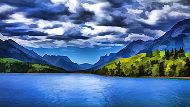 Painting Of A Lake And Mountains In Waterton Lakes National Park, Alberta, Canada