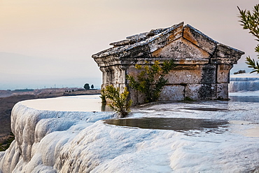 Tomb Submerged In A Travertine Pool In Hierapolis, Pamukkale, Turkey