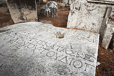 Greek Inscription On Stone At Ruins Site, Thyatira, Turkey