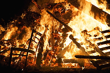 Wooden Chair And Pallets Burning In Bonfire, Guy Fawkes Night, London, England
