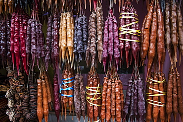 Churchkhela, Traditional Georgian Candies Made From Nuts, Almonds, Walnuts And Hazelnuts Threaded Onto A String, Dipped In Thickened Grape Juice Or Fruit Juices And Dried, Tbilisi, Georgia