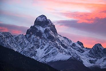 Mount Ushba At Dawn, Caucasus Mountains, Zemo Svaneti National Park, Samegrelo-Zemo Svaneti, Georgia