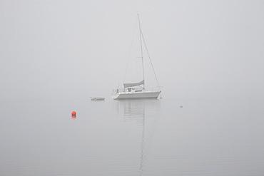 Sailboat Moored In The Fog, Magog, Quebec, Canada