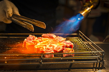 Local Night Markets Of Taipei Are Really Famous Because Of It's Delicious Food. Grilled Beef Flared By Blowtorch, Taiwan, China