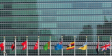 International Flags In A Row In Front Of A Headquarters Of The United Nations Building With Glass Facade, New York City, New York, United States Of America