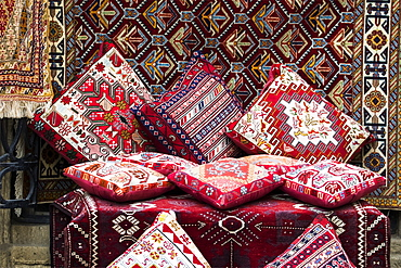 Cushions And Carpets For Sale In A Souvenir Store, Baku, Azerbaijan