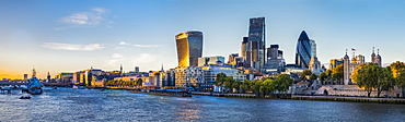 Panorama Of The Skyline Of The City Of London And The Tower Of London, London, England