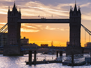 Silhouette Of Tower Bridge At Sunset, London, England