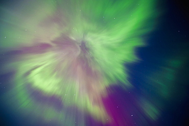 Aurora Borealis Corona Display Over Turnagain Arm, Alaska, United States Of America