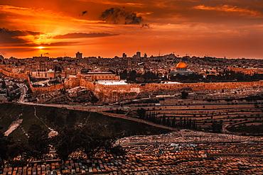 Cityscape Of Jerusalem At Sunset, Jerusalem, Israel