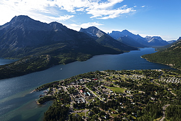 View Of The Buildings In The National Park And The Lake Spanning The Rocky Mountains, Waterton Lakes National Park, Alberta, Canada