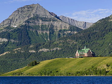 Upper Waterton Lake And Mountains With Prince Of Wales Hotel, Waterton Lakes National Park, Alberta, Canada