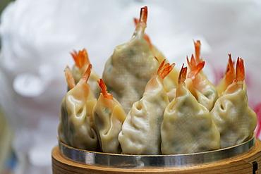 Close Up Of Shrimp Filled Dumplings, Seoul, South Korea