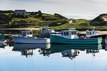 Fishing Boats In The Tranquil Harbour, Mabou, Nova Scotia, Canada