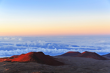 Cinder Cones And Caldera From Ancient Lava Eruptions Atop 4200 Meter Mauna Kea, Tallest Mountain In Hawaii, At Sunset, Island Of Hawaii, Hawaii, United States Of America