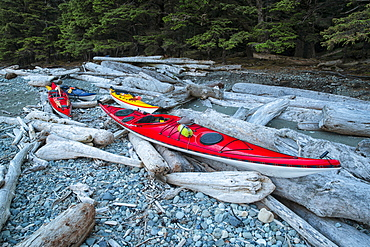 Kayaks Lie On The Shoreline Waiting For The Weather To Clear, Haida Gwaii, British Columbia, Canada