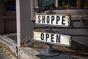 Vintage Shop Sign, Woodstock, Vermont, United States Of America