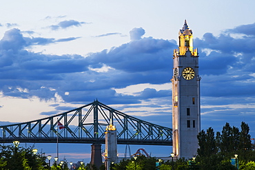 Tower Clock At The Old Port And Jacques Cartier Bridge, Montreal, Quebec, Canada