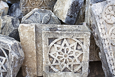 Decorative Designs Carved Into Stone At A Ruins Site, Madhya Pradesh, India