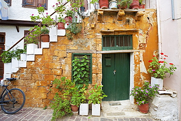 Colourful Local House With Pot Plants In The Backstreets Of The Old Town