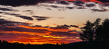 Dramatic Sky At Sunset With Silhouette Of Trees And Landscape, Foster, Quebec, Canada