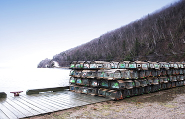 Lobster Traps Stacked In Parking Lot/Dock Along The Cabot Trail, Nova Scotia, Canada