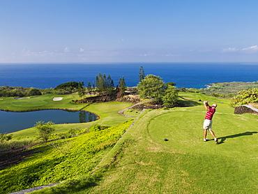 Golfer On Golf Course At Kona Country Club, Kailua Kona, Island Of Hawaii, Hawaii, United States Of America