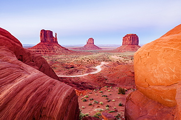 The Mittens At Sunset, Navajo Tribal Park, Monument Valley, Arizona, United States Of America