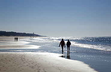 Walking On The Beach At The Water's Edge, Near Chiclana De La Frontera, Andalusia, Spain